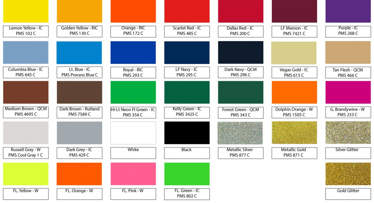 Stock Ink Color Chart N The Zone Ink