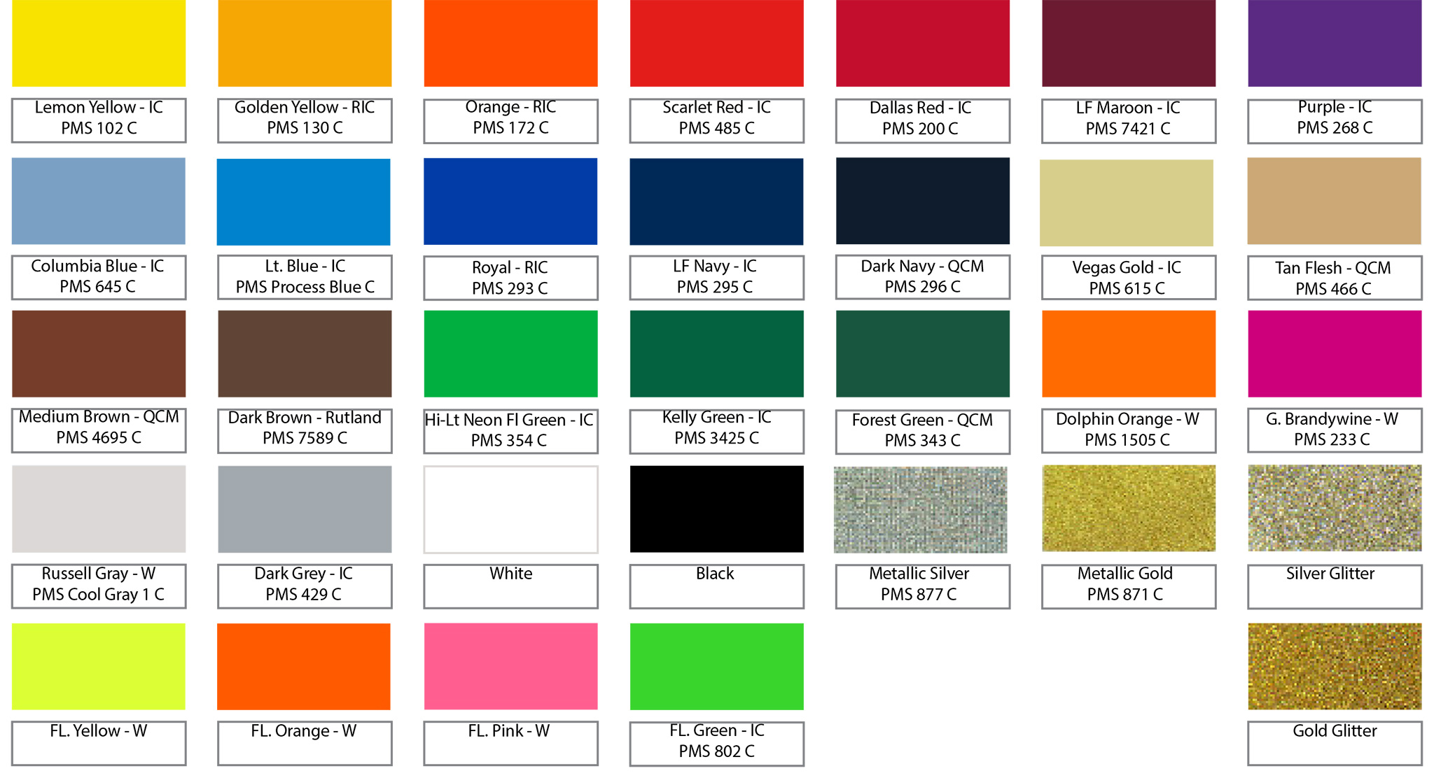 Stock Ink Color Chart